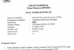 Soal Ujian Nasional TKJ SMK 2009-2010