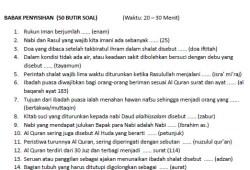 Soal Cerdas Cermat Agama (CCA) Islam