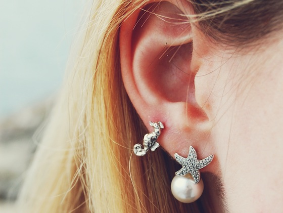 starfish pearl seahorse earrings