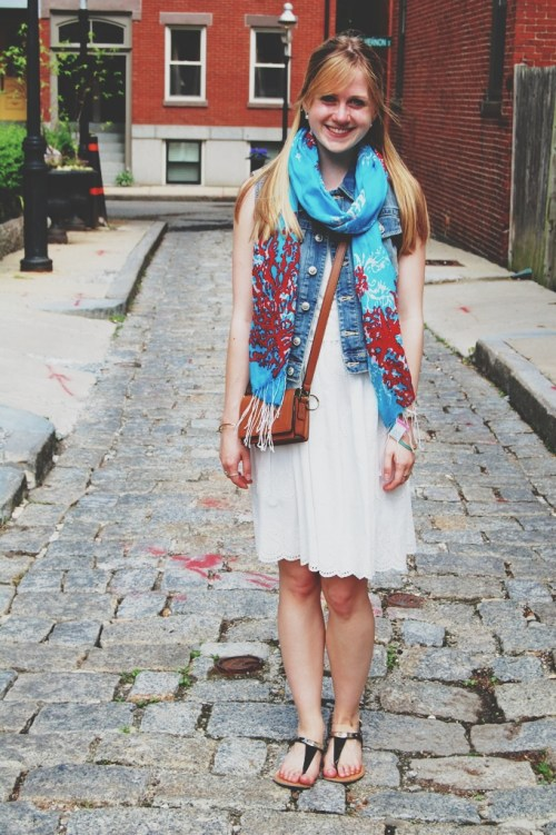 denim vest over dress