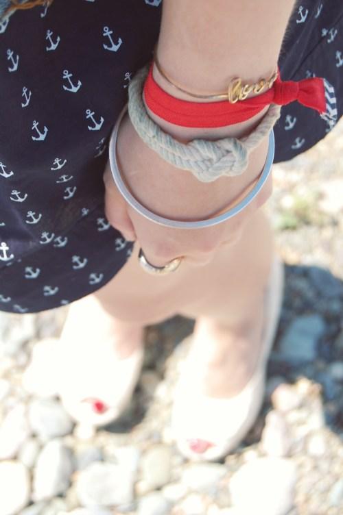 white knot anchor bracelet