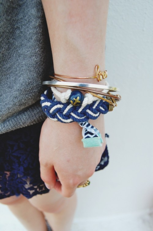 blue rope anchor bracelet