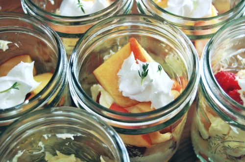 peach raspberry desserts in jars
