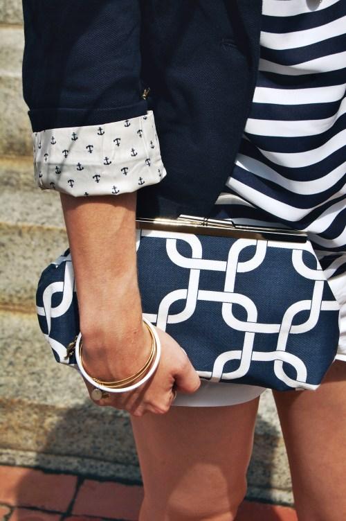 navy nautical chains fabric