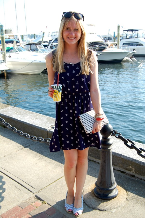 navy white sailboat dress