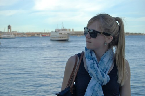 nautical scarf; monogrammed tortoise sunglasses