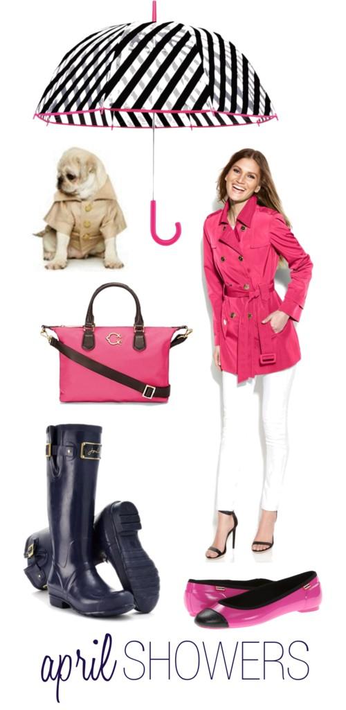 Pink & Navy Rain Gear