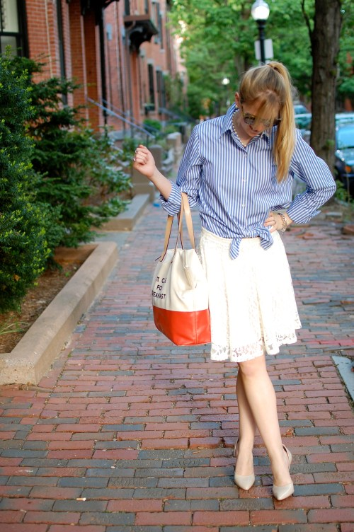 Striped Blue Button-Up Oxford Shirt