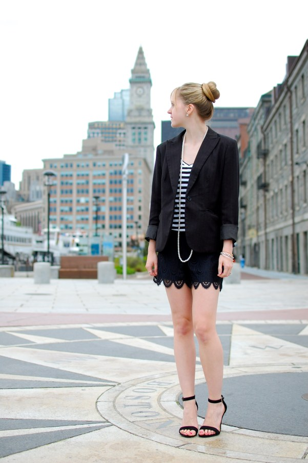 Boyfriend Blazer; Lace Hutton Shorts