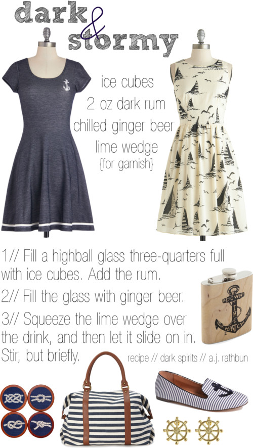 Dark & Stormy Cocktail / Nautical Dresses