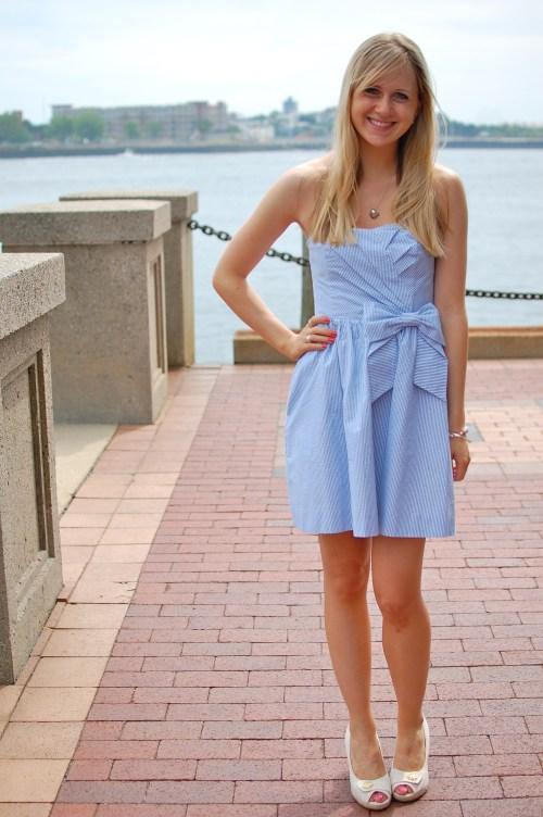 Blue Seersucker Bow Dress