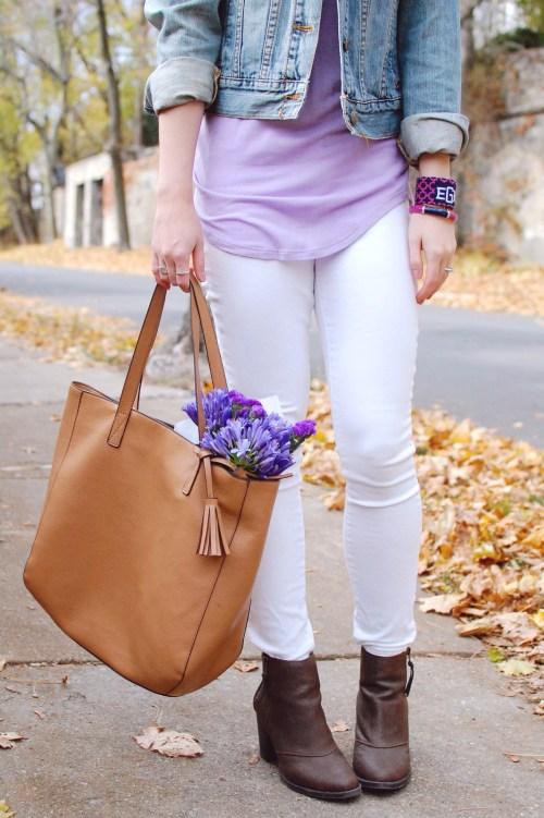 Leather tassel tote