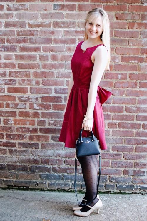 Crimson Dress; Polka Dot Tights