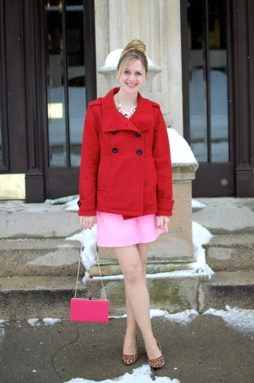 Red Wool Peacoat