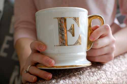 Anthropologie Gold Letter Mug