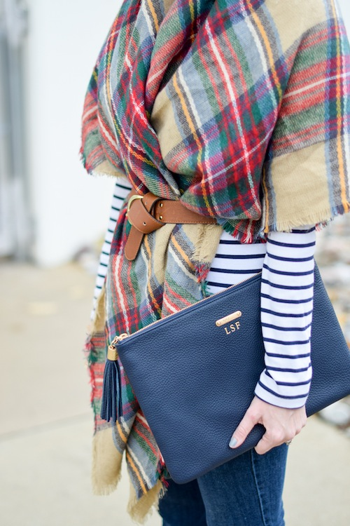Plaid Blanket Scarf + Striped Shirt