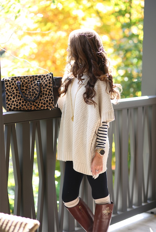 Cream Cable Knit Poncho