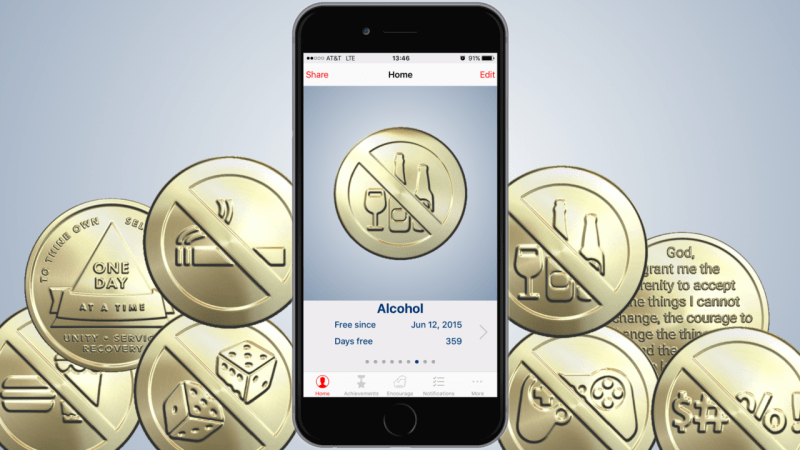 Sobriety Coin Mobile App display