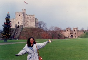 Dec. 1991: The Norman Keep and me. At Cardiff Castle.