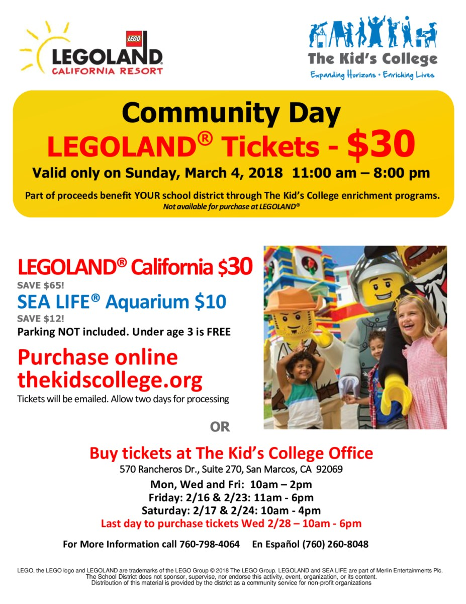 Legoland $30 one day only!