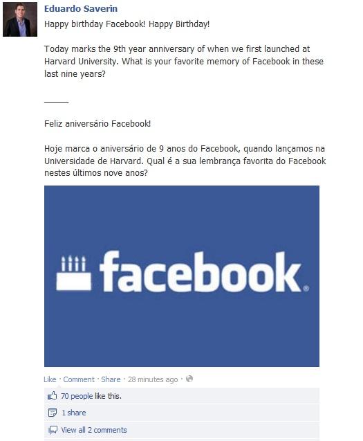 Facebook, Eduardo Saverin, Facebook birthday
