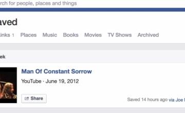 Facebook Saved links