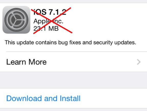 iOS 7.1.2 discontinued