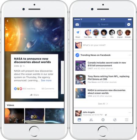 Facebook Trending stories