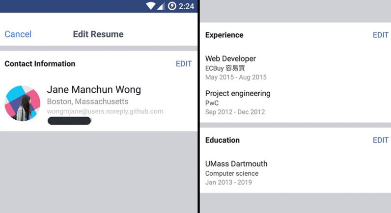 Facebook testing Resume feature borrowed from LinkedIn; allows adding contact details