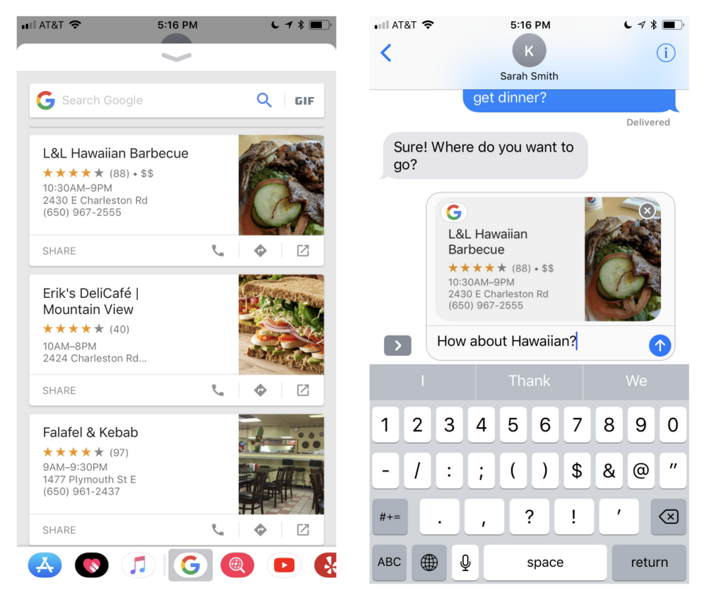 Google search results now available in Apple's iMessage app drawer