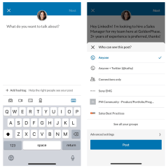 LinkedIn's new share box will let you choose where your posts are seen