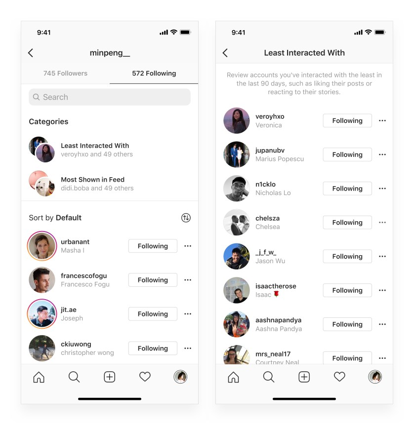 Instagram Added Following Feature to Make It Easier to Unfollow Accounts