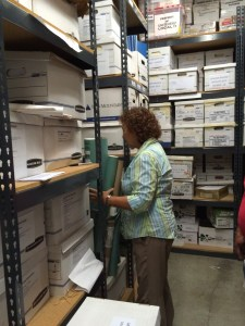 Vivian Rothstein digs through a storage room at UNITE HERE Local 11.