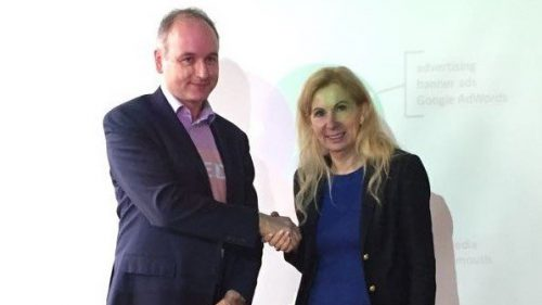 Frau Prof. Dr. Salmen und Herr Mathauer nach seinem Gastvortrag an der Hochschule Heilbronn