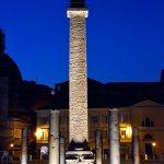 21/04/2015 Roma. I Fori Imperiali di notte. La Colonna Traiana.  The Imperial Forums by night. Trajan's Column