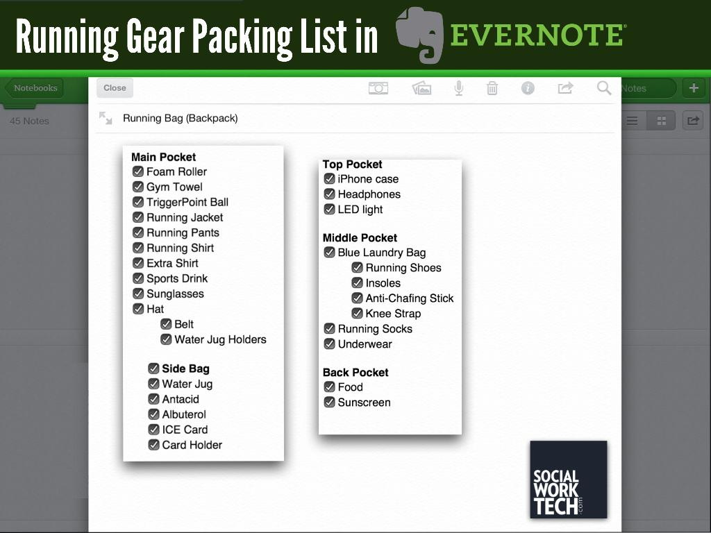 My Running Gear Packing List in Evernote (listed under this image)