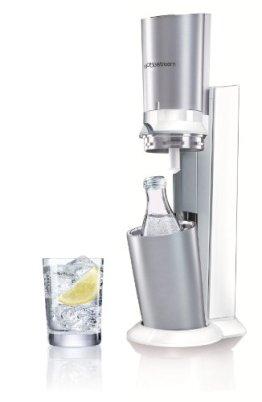 SodaStream Wassersprudler Crystal , Premium-weiß (mit 1 x CO2-Zylinder 60L und 1 x 0,6L Glaskaraffe)