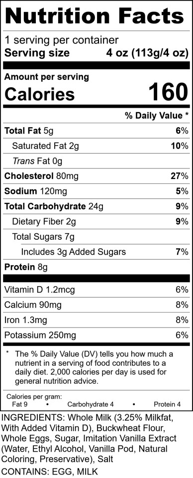 Sofis - Crepe Batter Buckwheat RecipeFormula Nutrition Label 4oz