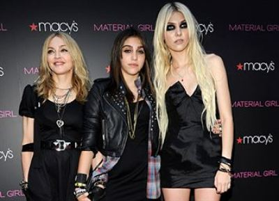 "Madonna, Lola Leon and Taylor Momsen attends the launch of ""Material Girl"" at Macy's Herald Square on September 22, 2010 in New York City. ""Material Girl"" Launch - Red Carpet Macy's Herald Square New York, NY United States September 22, 2010 Photo by Kevin Mazur/WireImage.com To license this image (61768753), contact WireImage.com"