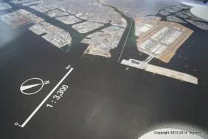 かわさきエコ暮らし未来館の床に貼ってある臨海工業地帯の1/3300地図
