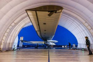 Solar Impulse 2 in Mobile Hangar