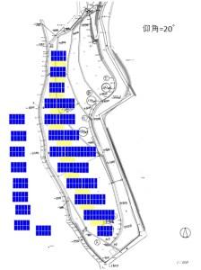 太陽光発電所3号基(広島)のパネルレイアウト・その1(失敗例)