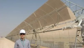 CleanTechnica Director Zachary Shahan (me) at the Shams 1 CSP power plant in Abu Dhabi — not a small CSP power plant. Photo Credit: Marika Krakowiak / CleanTechnica