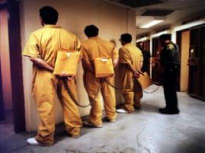 Prisoners shackled together (Credits: California Department of Corrections and Rehabilitation)