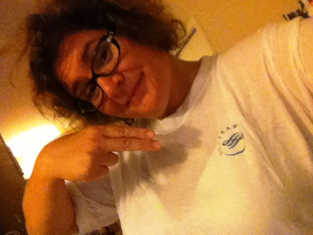Yo! Using Flight Attendant Pointing Fingers While Wearing My New SkyTeam T-Shirt.