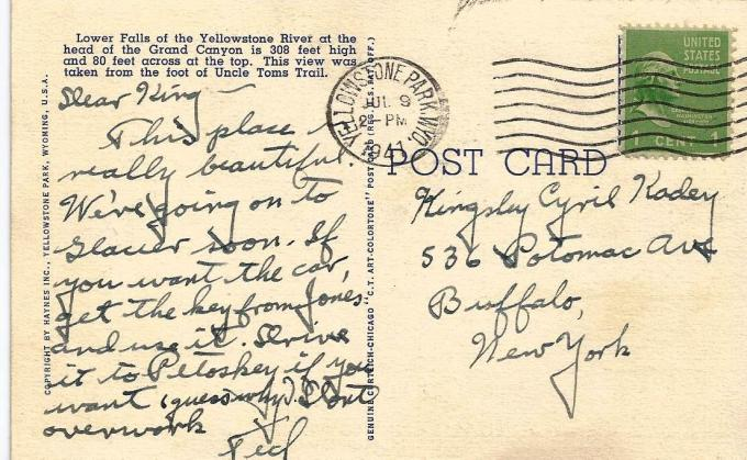 """This 1947 Visitor to Yellowstone National Park Sent a Postcard Home Describing the Park as """"Beautiful"""""""