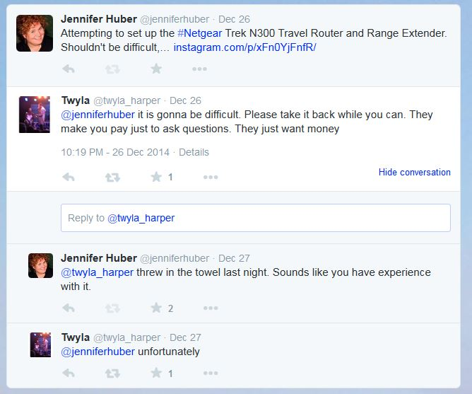 Twitter Conversation About My NETGEAR Trek N300 Travel Router and Range Extender