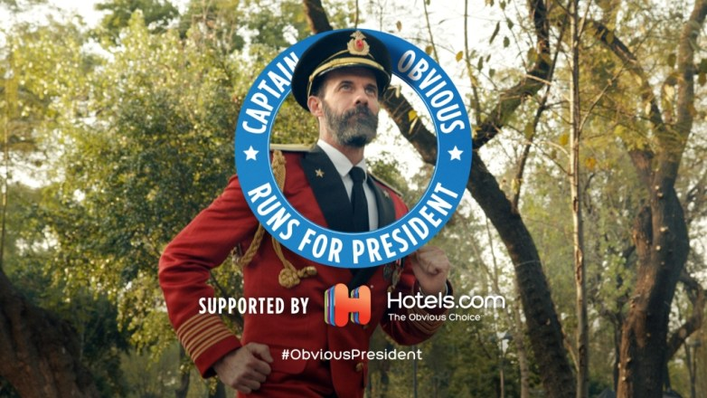 Captain Obvious runs for president with Hotels.com by his side. #ObviousPresident