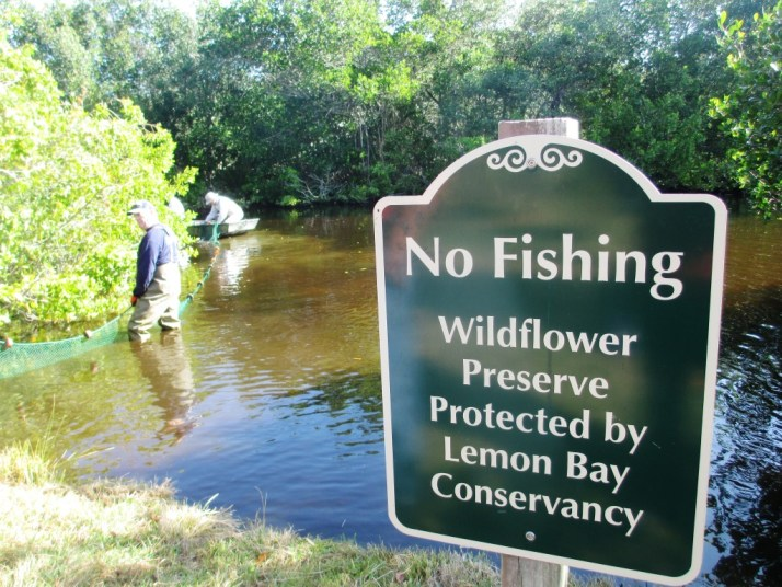 No Fishing at Wildflower Preserve. Except Under the Direction of the FWC.