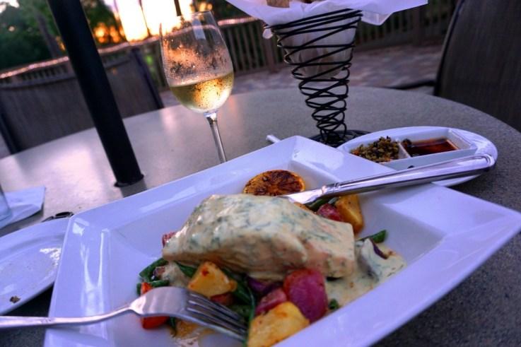 Delish Salmon Dinner and Wine at Market Salamander Grill, Innisbrook Resort.